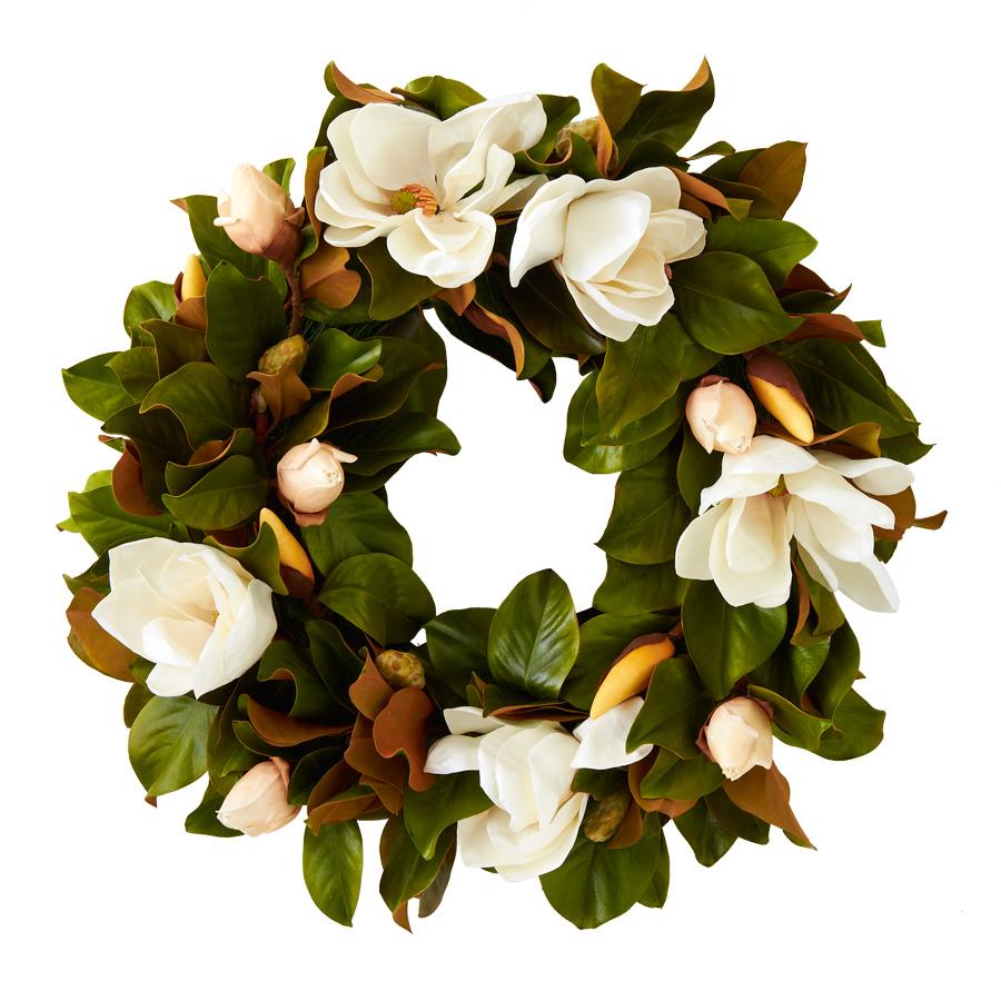 30 Inch White Magnolia Wreath