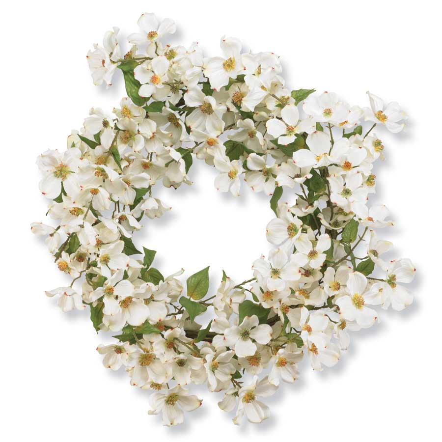 26 Inch White Dogwood Wreath