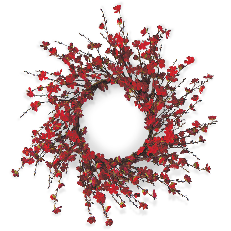 24 Inch Red Cherry Blossom Wreath