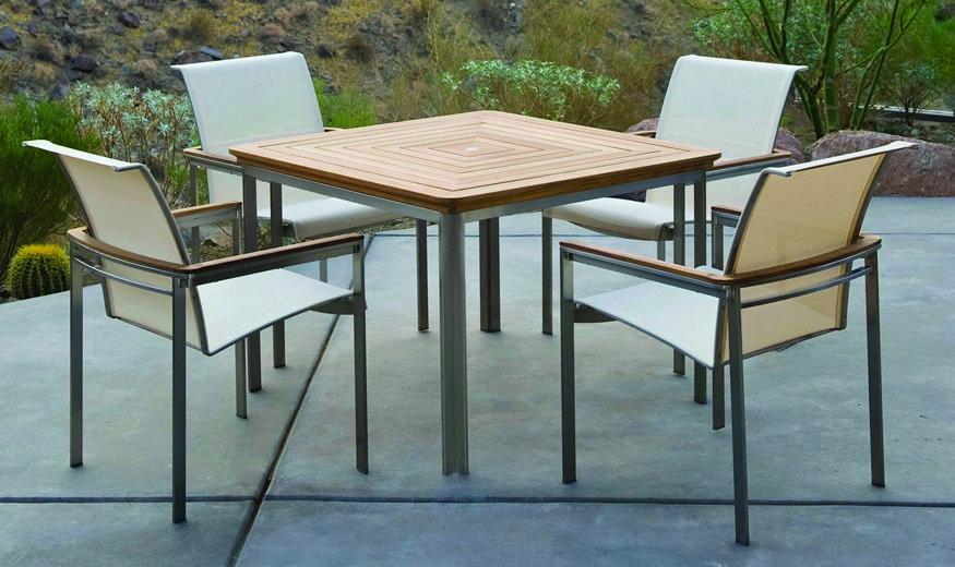 Kingsley-Bate Tivoli 5 Piece Stainless Steel and Teak Dining Ensemble