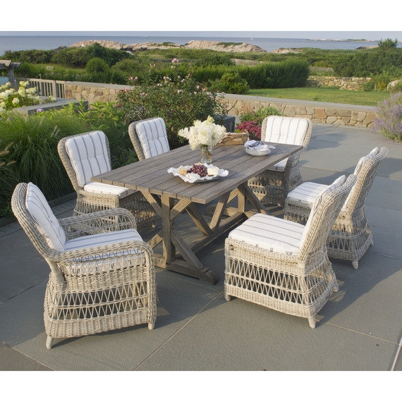 Kingsley-Bate Woven Southampton and Brussels 7 Piece Dining Ensemble
