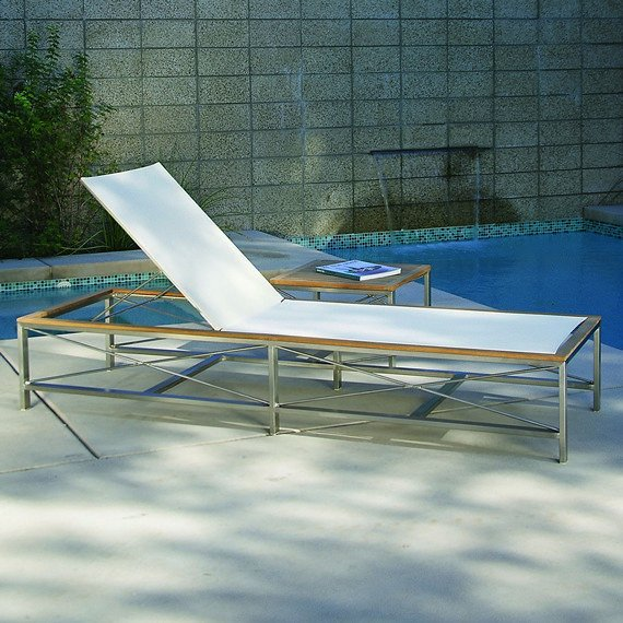 Kingsley-Bate Ibiza 3 Piece Stainless Steel and Teak Trim Chaise Lounge Ensemble