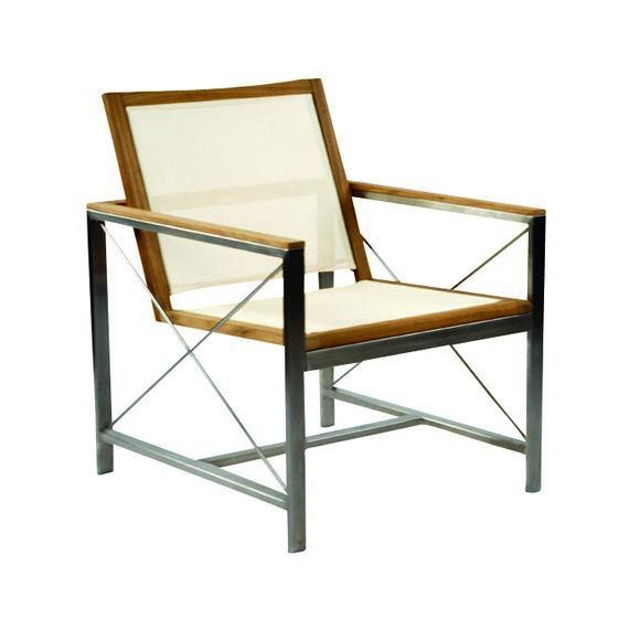 Kingsley-Bate Ibiza Stainless Steel and Teak Trim Club Chair