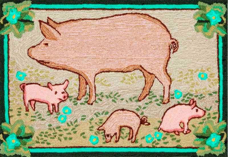 TransOcean Frontporch Piggies Meadow Rug