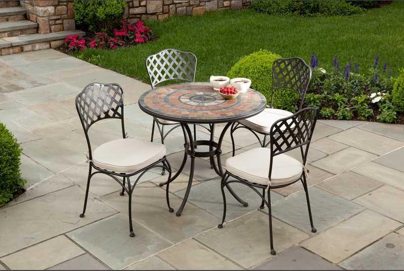 Alfresco Home Asti Mosaic Bistro 5 Piece Wrought Iron Dining Ensemble