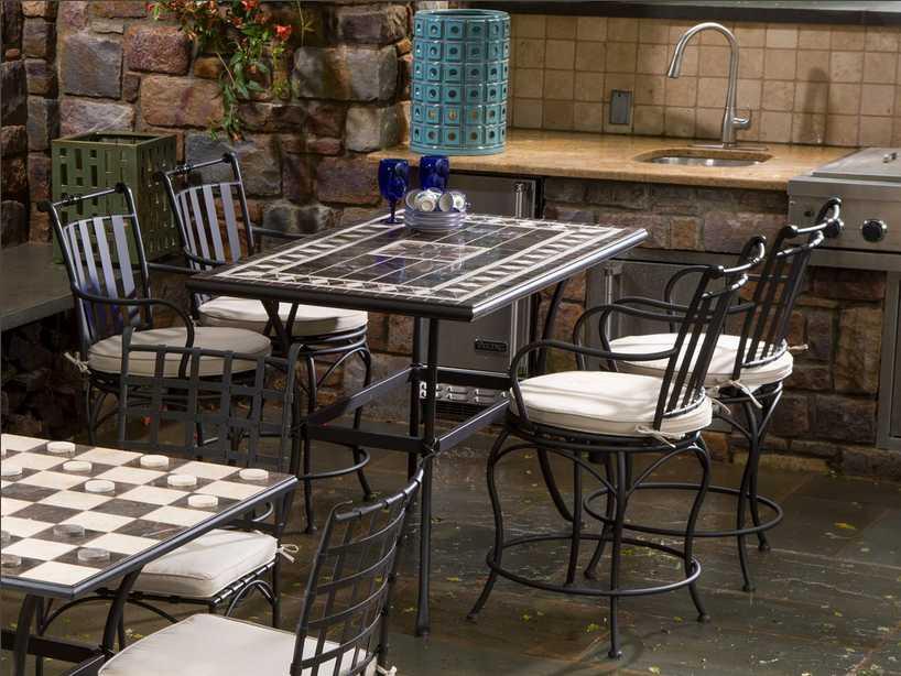 Alfresco Home Gibraltar Mosaic 5 Piece Wrought Iron Dining Ensemble