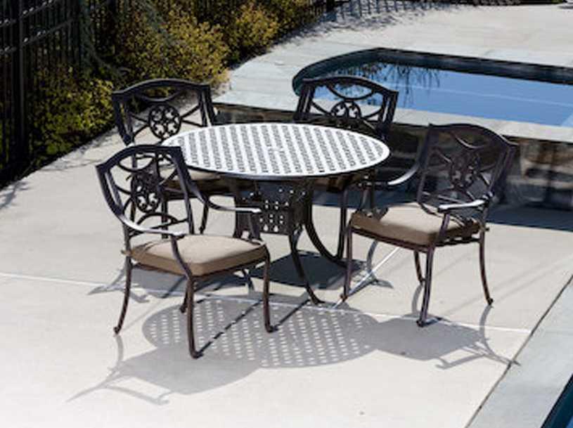 Alfresco Home Lista Five PieceCast Aluminum Dining Ensemble