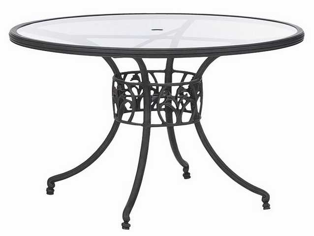 Landgrave Sarbone Lily Aluminum 48 Round Glass Dining Table with Umbrella Hole