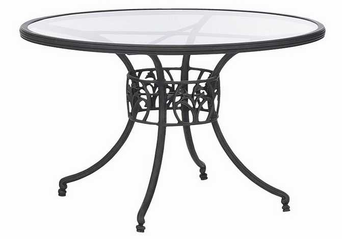 Vintage Landgrave Sarbone Lily Aluminum Round Glass Dining Table
