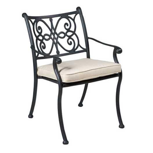 Landgrave Venice Aluminum Cushion Arm Dining Chair