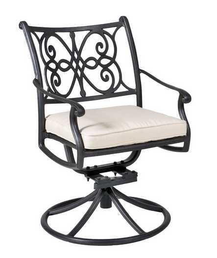 Landgrave Venice Aluminum Cushion Arm Swivel Rocker Dining Chair