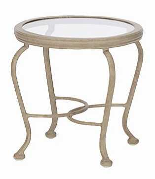 Landgrave Palermo Cast Aluminum Round Glass End Table