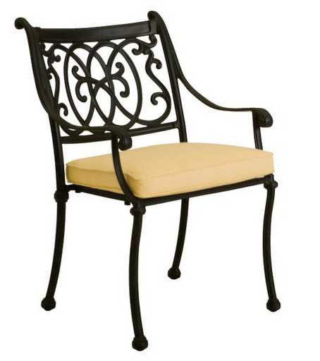 Landgrave Roma Cast Aluminum Cushion Arm Dining Chair