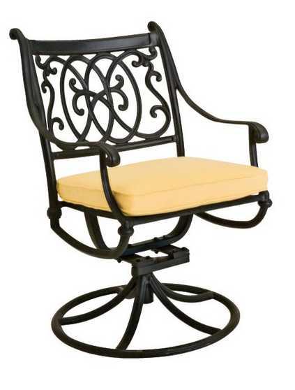 Landgrave Roma Cast Aluminum Cushion Arm Swivel Rocker Dining Chair
