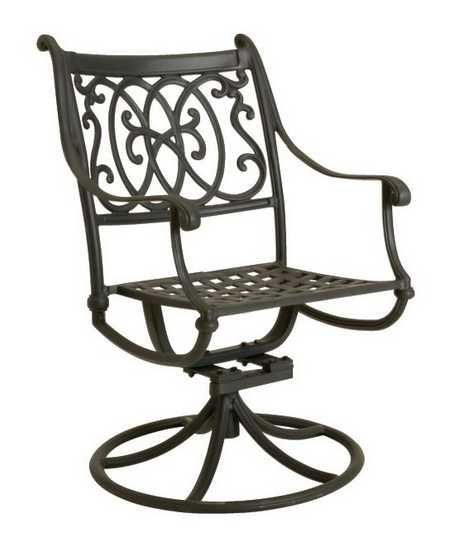 Landgrave Roma Cast Aluminum Metal Arm Swivel Rocker Dining Chair