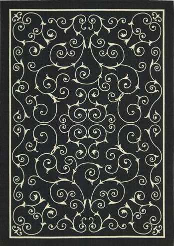 Nourison Indoor/Outdoor Home & Garden Black Rug