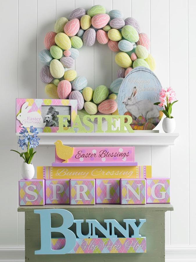 19 Inch Multi Pastel Egg Wreath
