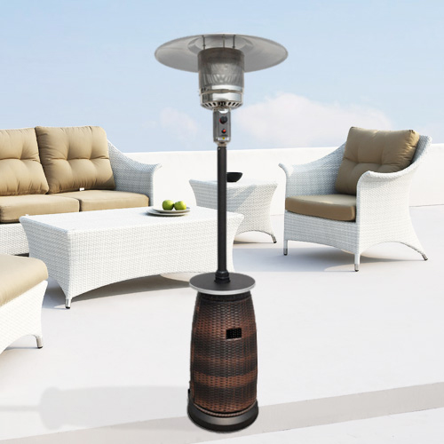 87� Tall Outdoor Resin Wicker Patio Heater with Table
