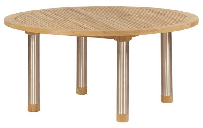 Barlow Tyrie Equinox Teak Circular Dining Table – Steel legs 59�