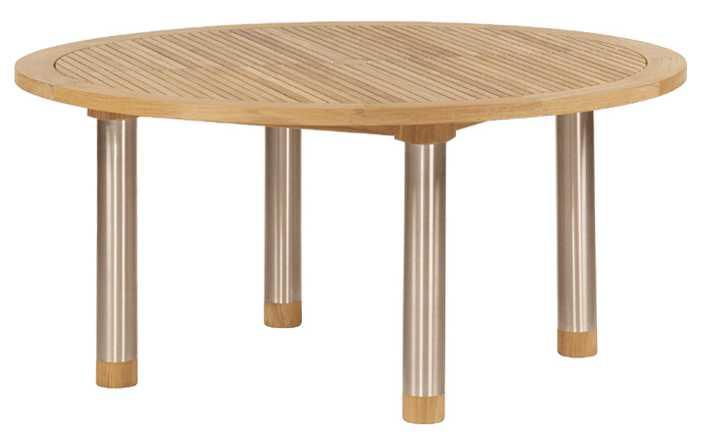 Barlow Tyrie Equinox Teak Circular Dining Table - Steel legs 59�