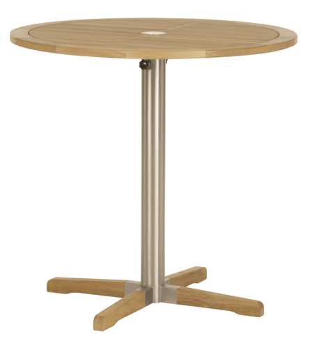 Barlow Tyrie Equinox Teak Circular Pedestal High Dining Table – Steel leg 39�