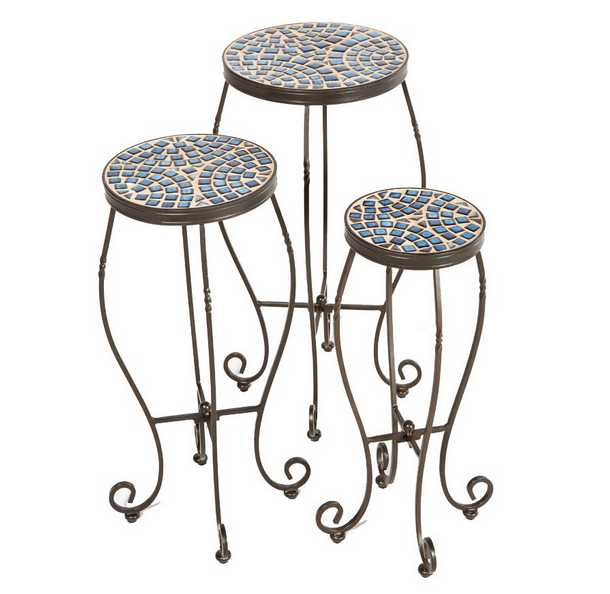 Alfresco Home Tremiti Set Of Three Plant Stands
