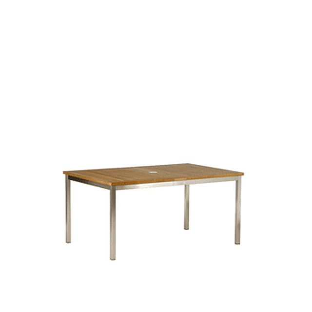 Barlow Tyrie Equinox Rectangular Stainless Steel and Teak Extending Dining Table 59�-90�