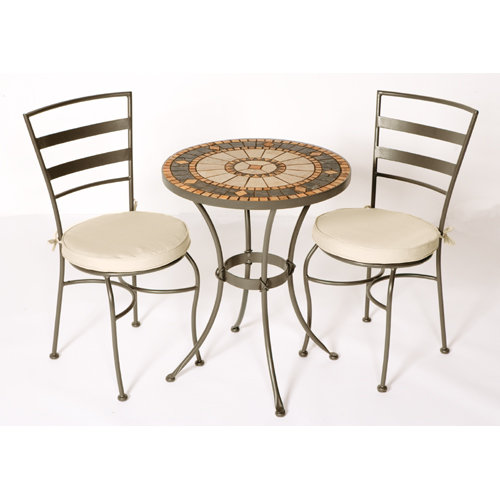 Compass 30� Round  Aluminum Bistro Table and Two Chairs