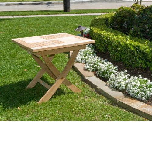 Square Teak Folding Side Table