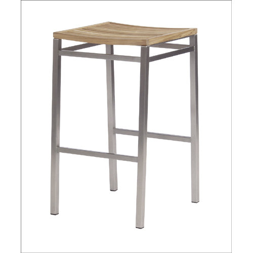Barlow Tyrie Equinox Teak Stainless Steel and Teak Trimmed High Dining Backless Stool