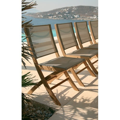 Barlow Tyrie Horizon Teak Folding Side Chair in Textilene Sling