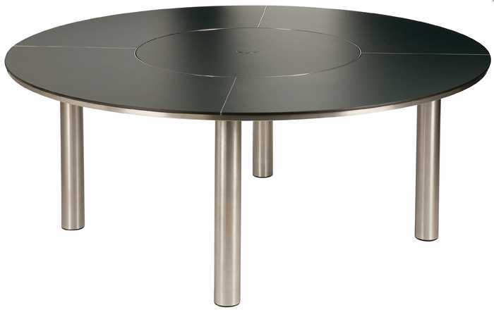 Barlow Tyrie Equinox Stainless Steel Circular Dining Table 71� with Lazy Susan