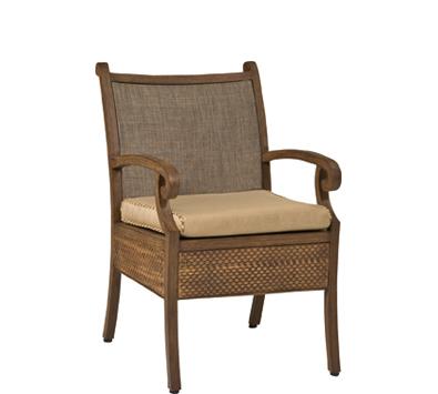 Landrgrave Cozumel Cast Aluminum Dining Arm Chair With Patterned Aluminum Skirt