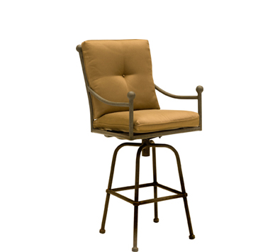 Landgrave Hacienda Cast Aluminum Swivel Bar Stool - Seat & Back Cushions