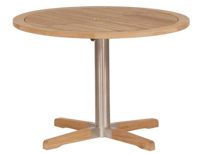 Barlow Tyrie Equinox Teak Circular Pedestal Table – Steel leg 39�