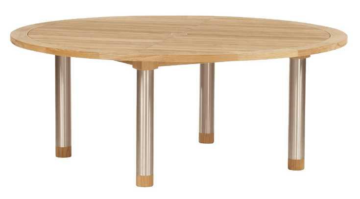 Barlow Tyrie Equinox Teak Circular Dining Table – Steel legs 71�