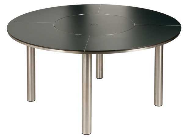 Barlow Tyrie Equinox Stainless Steel Circular Dining Table 59� with Lazy Susan