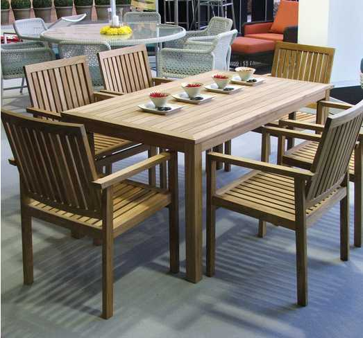 Barlow Tyrie Linear Teak Dining Table 150