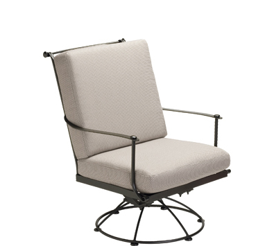 Maddox Wrought Iron Swivel Lounge Chair with Cushions
