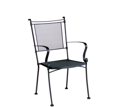 Bradford Wrought Iron Micro Mesh Dining Arm Chair – Stackable
