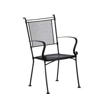 Bradford Wrought Iron Dining Arm Chair – Stackable