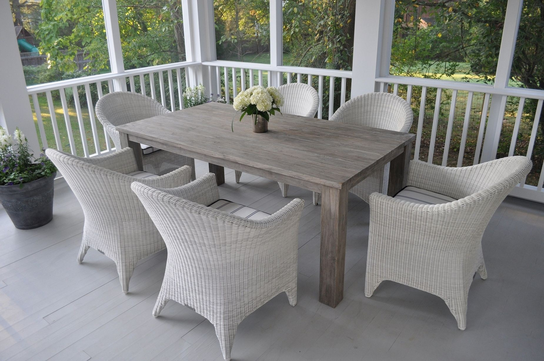 Kingsley-Bate Valhalla and Cape Cod 5 Piece Woven and Teak  Dining Ensemble