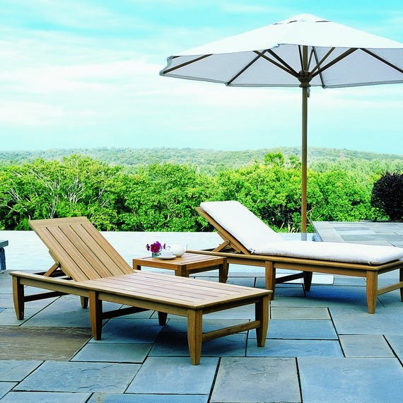 Kingsley-Bate Amalfi Teak Poolside Chaise w/Wheels (sold in quantities of two or more)