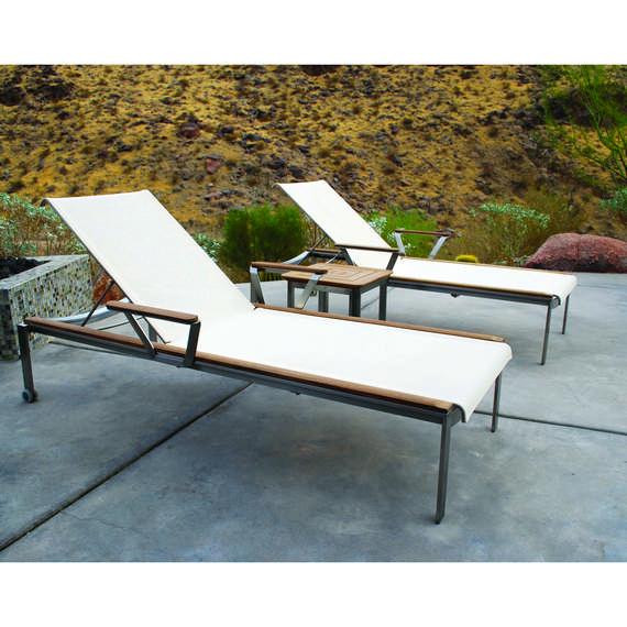 Kingsley-Bate Tivoli 3 Piece Stainless Steel and Teak Chaise Lounge Ensemble