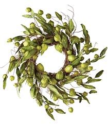 Green Papery Lantern Wreath