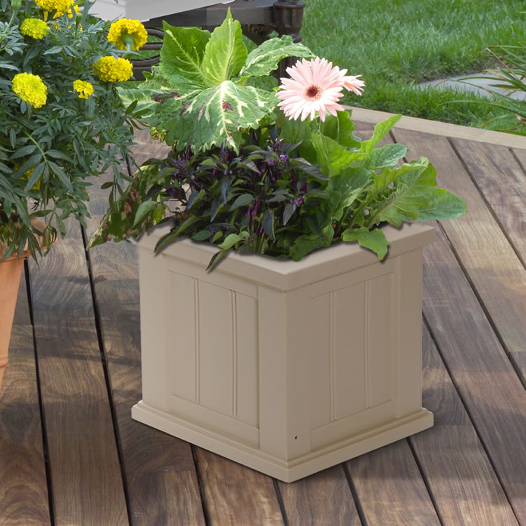 Cape Cod Patio Planter 14×14 Black, White, Clay