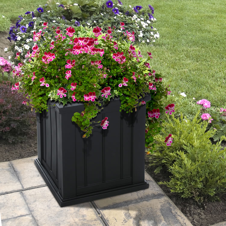 Cape Cod Patio Planter 16×16 Black, White, Clay