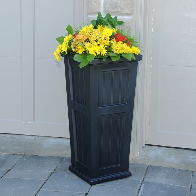 Cape Cod Tall Patio Planter Black, White, Clay