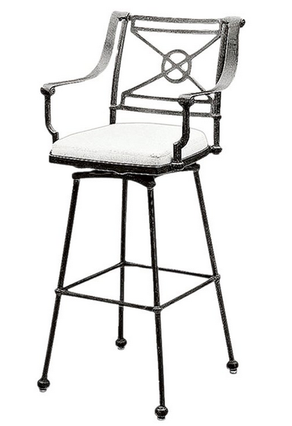 Delphi Aluminum Swivel Bar Stool – Attached Cushion
