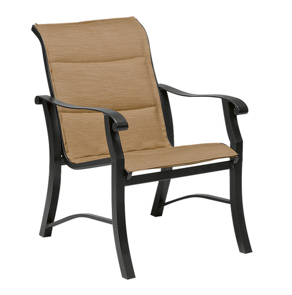 Cortland Aluminum Sling Padded Dining Arm Chair
